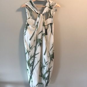 Massimo Dutti silk bamboo pattern halter dress NWT